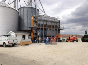 Our grain dryer, a GSI 2326... new in 2012, efficiently dries corn or wheat.  It has sufficient capacity to keep 2-12-row corn combines going.