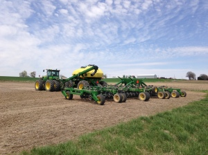 The drill is 50 feet wide, which allows it to plant 60 10-inch rows.