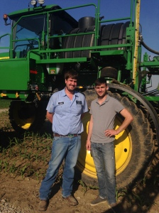 John and Nicolas re-filled the 4730 sprayer and are ready to take off to spray at the Freddie farm.   The Freddie farm has our largest field, 320 acres... 1 mile long and 1/2 mile wide.