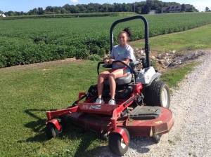 Haley is mowing the lane this morning, making the drive in and out of Carnahan and Sons more beautiful