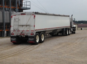 The old Chamberlain hopper trailer is now connected to Red Stripe.  Now all 4 of our semis are ready to bring in the fall harvest.