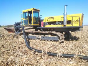 Shepards are 'plowing in' some drainage tile on the Burke farm.  About 20 acres will be improved in this way this fall.