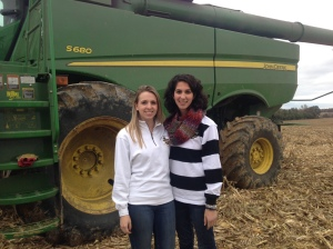 Megan brought her friend Ali by the field today.  We enjoyed a visit in the combine.