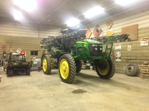 The 4730 sprayer waits patiently in the warm shop for some days suitable for fall spraying.  Perhaps next week?