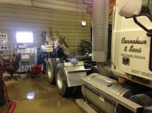 Brandon works on washing the Vision truck today.