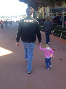 Ella was happy to follow her daddy, and daddy was happy, too!