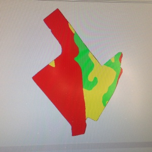 Here is the 'after' shot of one of the five Roberson farm planting prescription maps.  You can see the 8 soil types were classified into one of three soybean population categories.  Red indicates low population 150K/ac.  Yellow indicates a medium population 180K/ac.  Green indicates a high planting population 195K/ac.