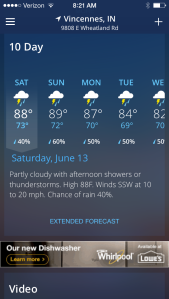 The Weather Channel reports a good chance of rain for the next week!