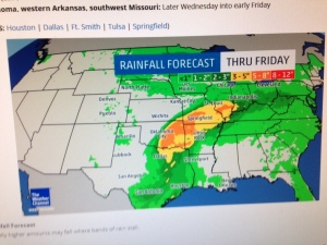 "According to this Weather Channel map, we are near the eastern tip of the yellow band, indicating 3-5"" rain through Friday."