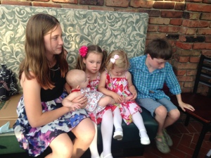 Many cousins, together for the first time.  Eleanor Green with Molly Carnahan, Lena and Campbell Hobson, and Paul Green.