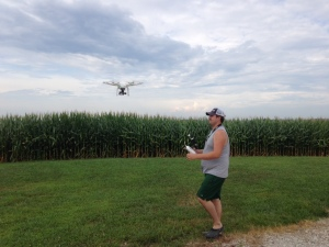 John sends the drone off to scout the corn fields