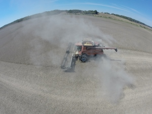 It's hard to describe just how dusty the conditions are around the combines!
