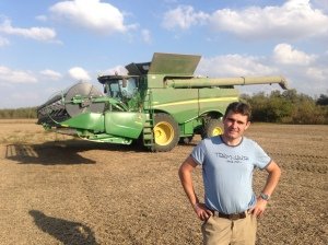 Damien is all smiles as we pause a bit on the final day of soybean harvest, Thursday.