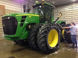 The JD 9330 tractor gets a good wash today, too.