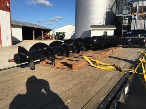The new Demco augers are here... guess we'll use these days ahead of planting time to get them installed.