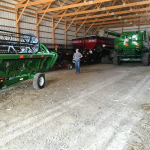 Finally, the other machines are stacked in front of the grain cart and combines.