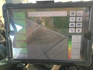 Fieldview Cab (Beta) connected to Fieldview Drive by Bluetooth.  In the 9330 cab, ready for planting soybeans.  You can see the Mailbox field, where I hope to plant first.