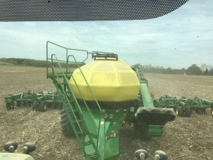 It's hard to capture the full width of the soybean planter from the cab.