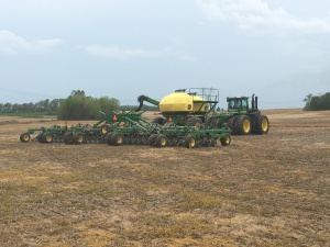 Tuesday evening, the JD9330 and 1890-1910 air drill were busy planting soybeans at Steimel