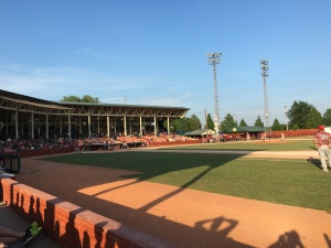 The evening was pretty warm, but it was neat to be in this historic old ballpark to watch a good game. The Hoppers defeated the Bombers, 2-0.