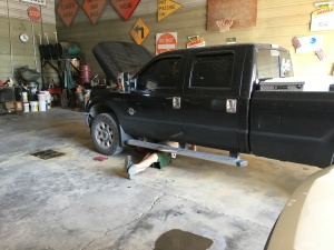 An oil change is among the service items getting done on this F-350 today
