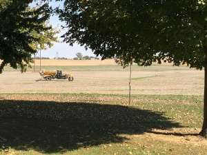 This applicator moves across the field, applying the food for the 2017 crop.