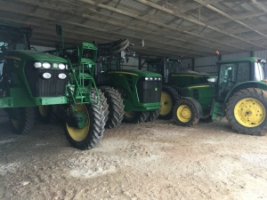 Our tractors wait quietly in the storage shed for the busy spring season, about 10-12 weeks away.  Be here before you know it...