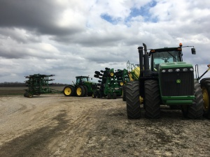 We pulled the soybean planter out to get to the NH3 applicator toolbar. They both went home as part of the 'get ready' process for #plant17